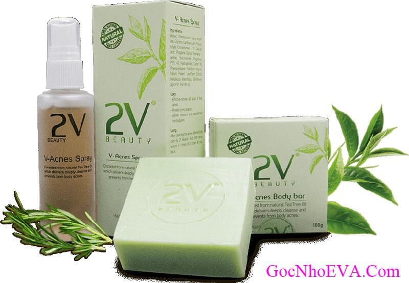 Combo sản phẩm đặc trị mụn lưng V-Acnes xà bông và xịt dưỡng