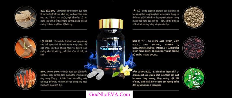 Thành phần thuốc tăng cường sinh lý kichmen 1h