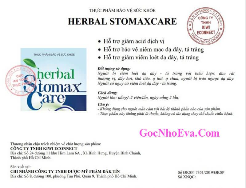 Giấy Phép Chứng Nhận Herbal StomaxCare Chính Hãng