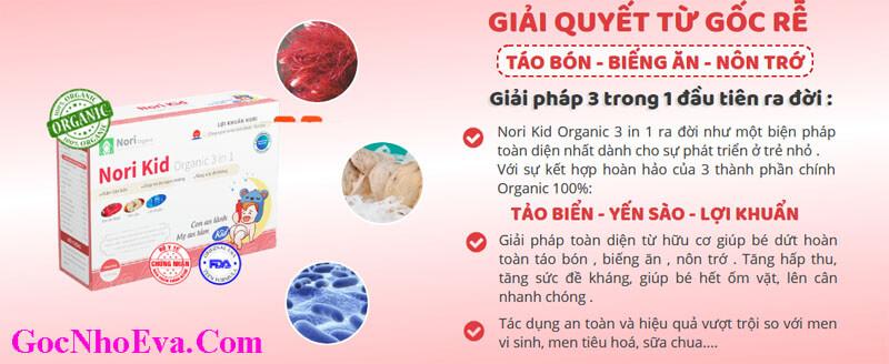 Thành phần Lợi khuẩn Nori Kid Organic 3 in 1