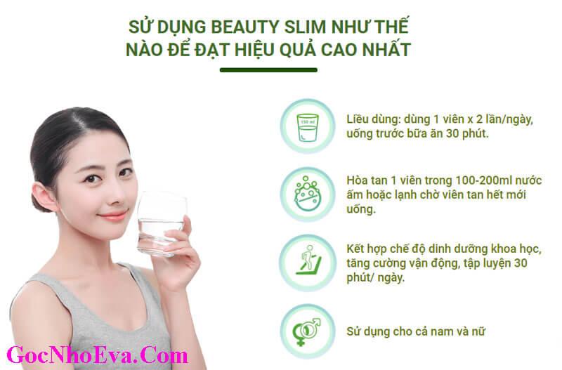 Cách sử dụng viên uống giảm cân Beauty Slim Chính Hãng