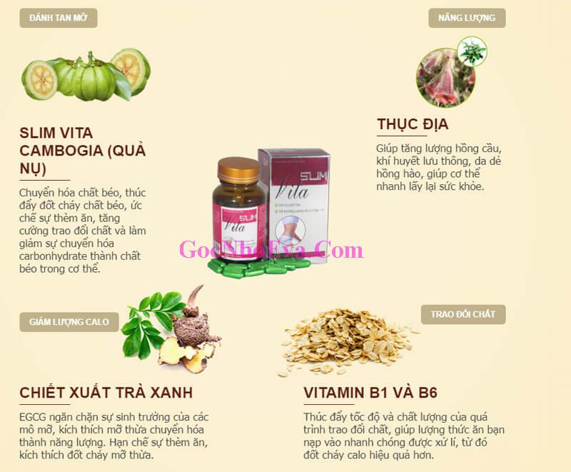Thành phần chính giảm cân Slim Vita