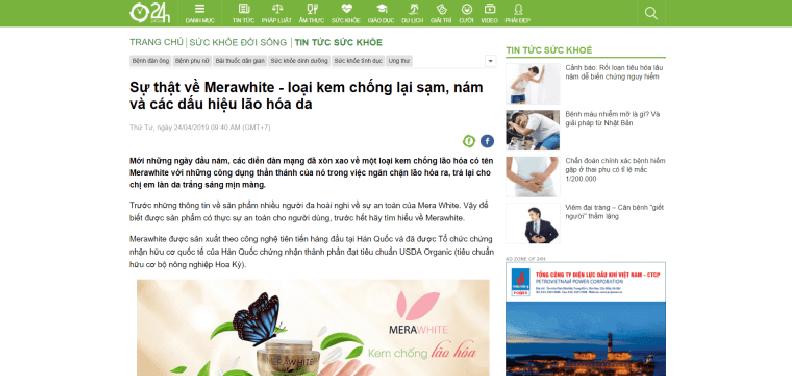 Báo chí nói gì về kem chống lão hóa Mera White
