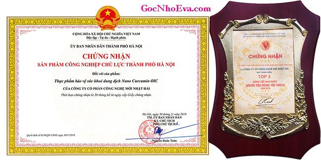 Giấy chứng nhận sản phẩm Nano Curcumin Oic