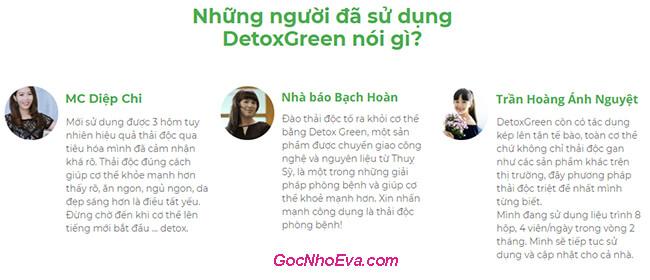 phản hồi về detox green