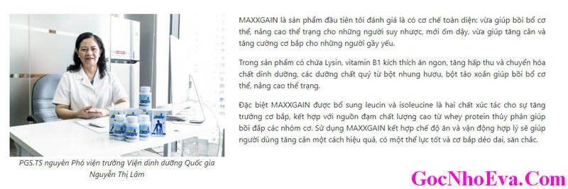 PGS.TS Nguyễn Thị Lâm nhận xét về Maxx Gain