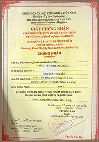 giấy chứng nhận cao hạ diệp châu