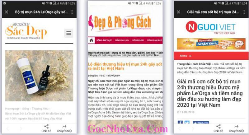 Báo chí viết gì về sản phẩm trị mụn 24 Orga