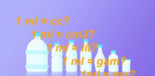 1 ml bằng bao nhiêu cc, cm3, lít, gam, mg